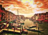 燃える灼熱の空のヴェネチア