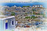 ミコノス島の白い屋根の街
