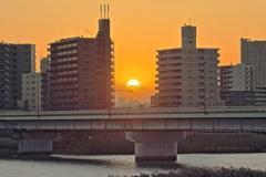 夕景 新四つ木橋下流