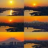 旧江戸川で見た富士山夕景