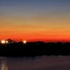 夕焼けの時 江戸川大洲より 東京タワー富士山スカイツリー