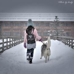 雪舞う散歩道♪