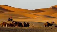 スマホをする砂漠の民