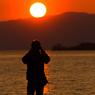 琵琶湖の夕日