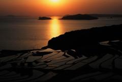 土谷棚田の夕陽