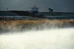 朝の河原にて(川内川)