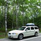 RICOH GR Digitalで撮影した乗り物(車と白樺林)の写真(画像)