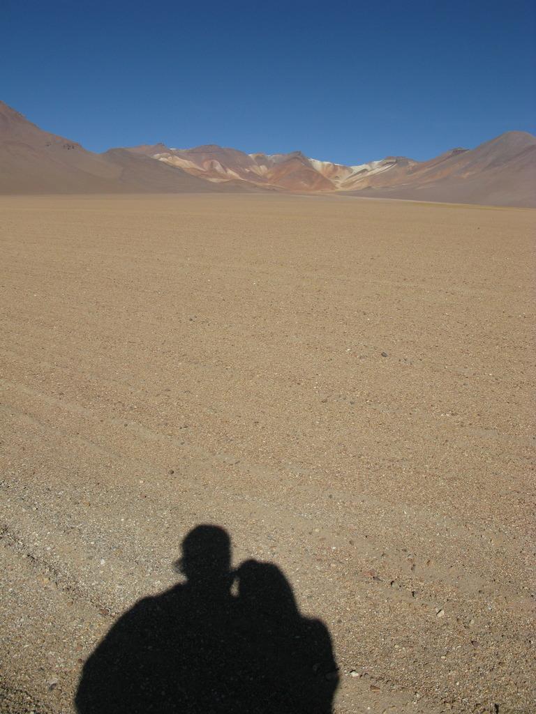 砂漠の中の影