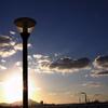 夕暮れの街灯