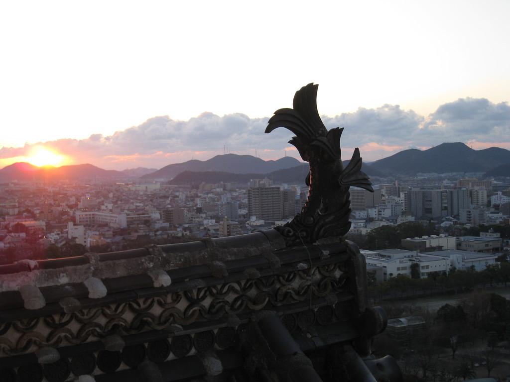 姫路城天守からの初日の出