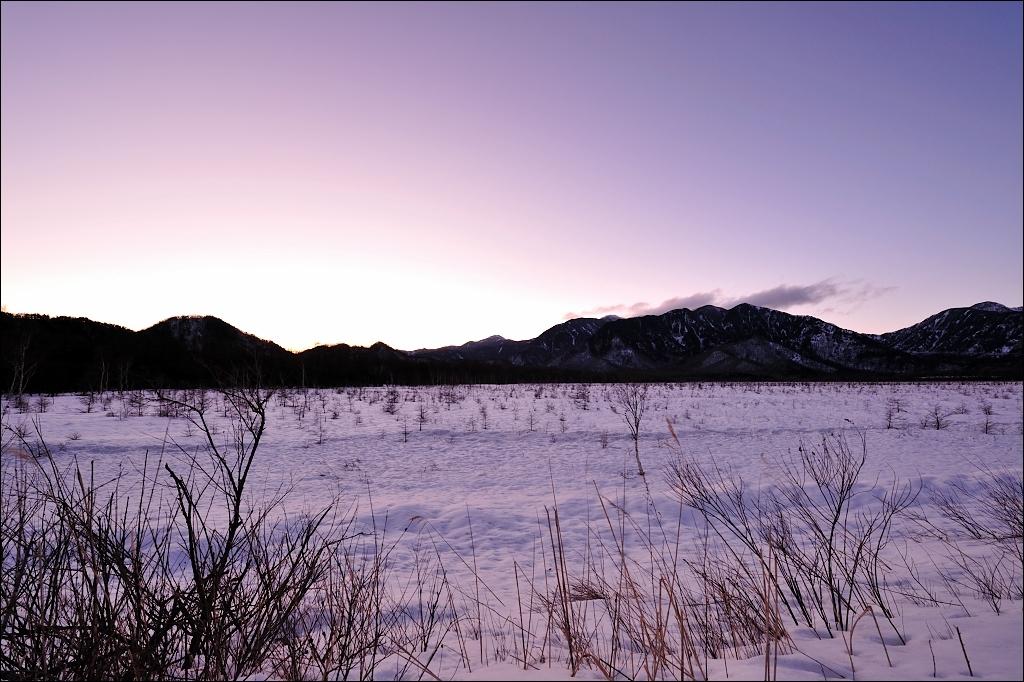 Senjo-ga-hara in winter, Sunset.