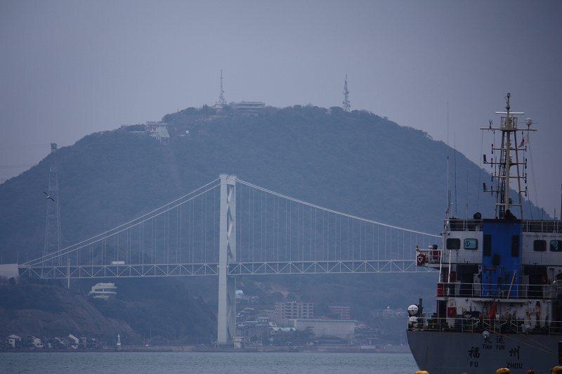 関門橋と火の山
