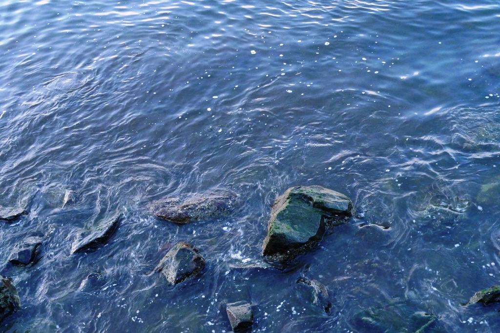 波にまみれる岩