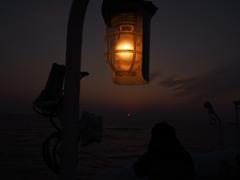 ランプと夕日