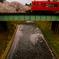 赤い電車と桜