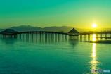 津軽富士見湖の夜明け