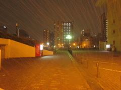 雪の降りしきるベイサイドプレイス博多②