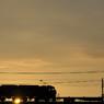 夕日と貨物列車