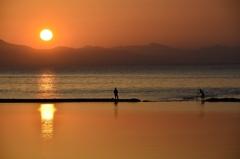 琵琶湖日没の風景