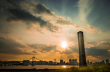 夕陽と放散塔