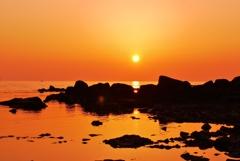 落日 日本海・・・静寂 春の海