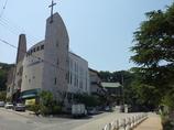 2017/06/18_群山西初等学校前の道と教会