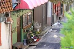 金沢市、尾山神社の参道石段から見た路地です