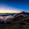 夕景 煙る燕岳