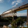 一ノ戸橋梁と光輝く蒸気機関車