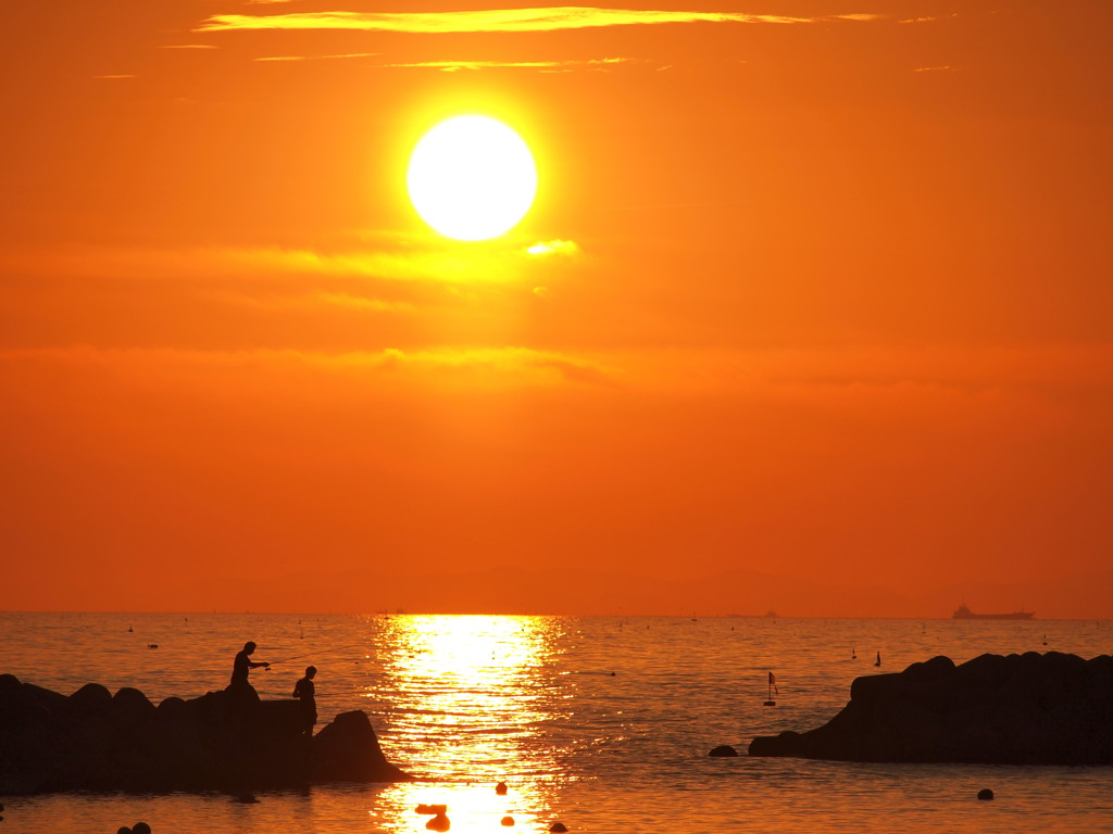 晩夏 夕景 播磨灘