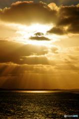 日食の夕陽