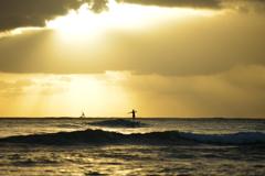 surfrider in the evening light