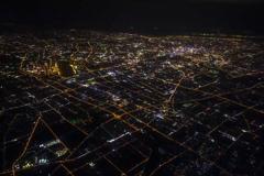 bird's-eye view of Shanghai at night