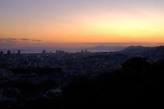 神戸夕景 諏訪山公園より淡路島方向を望む