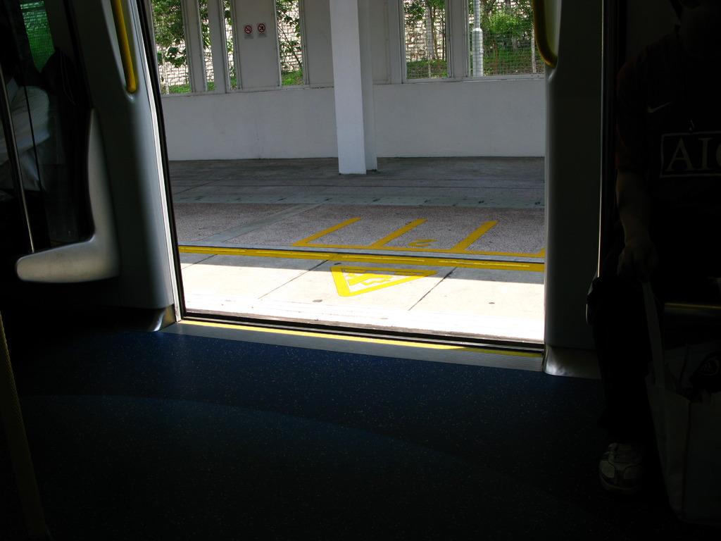 黄色い線を車内から