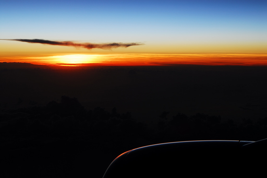 機上の夕日