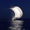 帆引き船・光る波