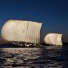 月夜の帆曳き船