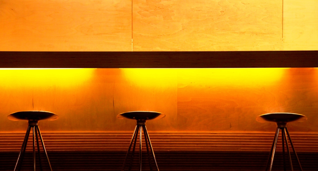 Bar in the orange light