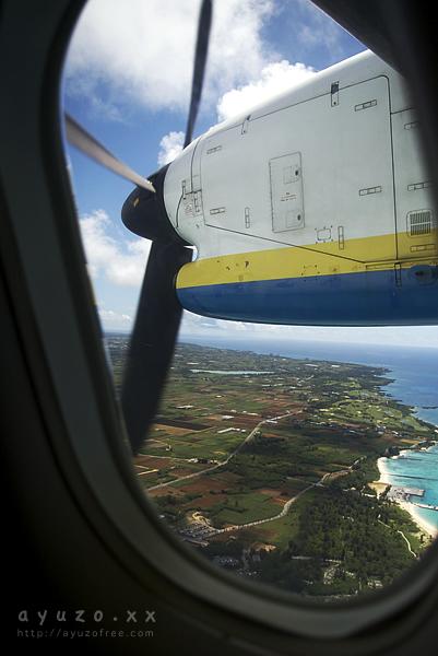 飛行機の窓から。