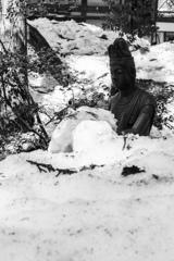雪中に坐る