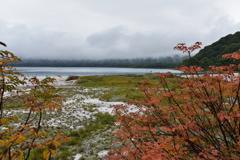 曇天の宇曽利湖を眺めて
