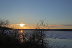 北海道シラルトロ湖からの夕陽