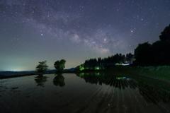 星峠の棚田に映る天の川