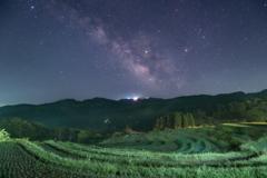 千枚田と天の川