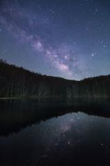 湖面に映る天の川