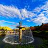 カナールの噴水と銀杏並木 昭和記念公園にて