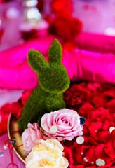 イギリス館、バレンタイン装飾のうさぎさん 横浜にて