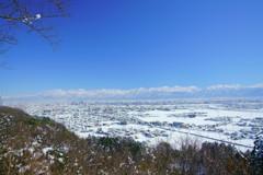富山市街地雪化粧