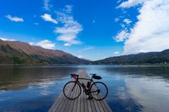 木崎湖×ロードバイク